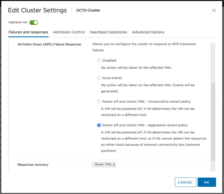 vSphere HA internals: VMCP super aggressive option in vSphere 7