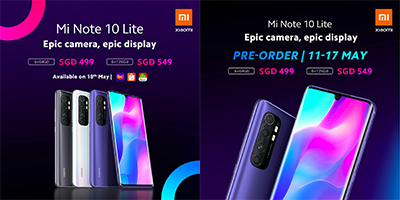 Mi Note 10 Lite will be available in three colours: Glacier White, Midnight Black, and Nebula Purple.