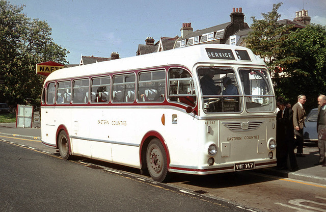 Eastern Countries Omnibus Company . LS 767 VVF767 . High Road , Woodford Green , East London . Saturday 16th-May-1970 .