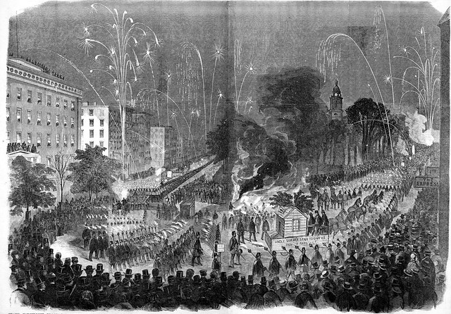 Grand torchlight procession of the wide-awake clubs in the City of New York on Wednesday evening, October 3rd, 1860