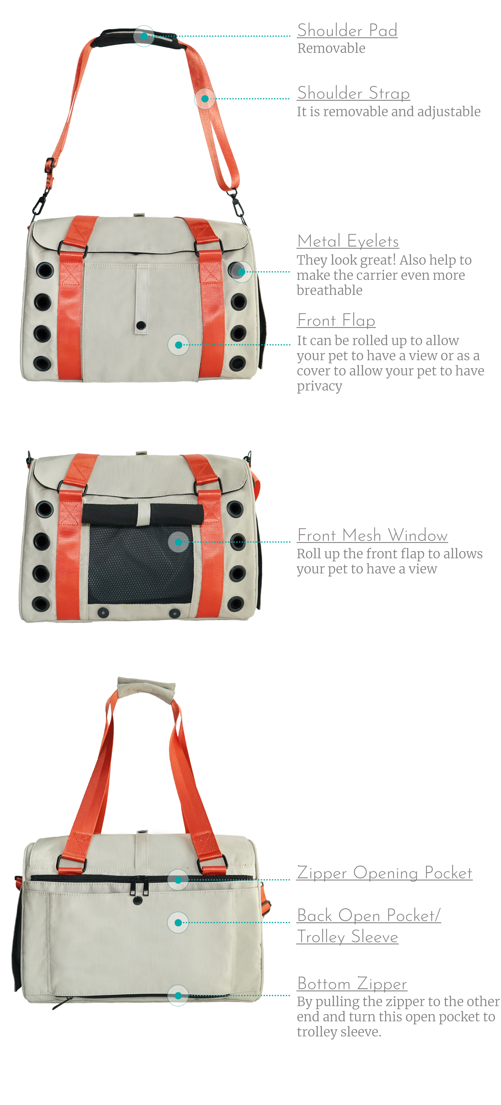 Breathable dog carrier from Candy Apple Pet Supply