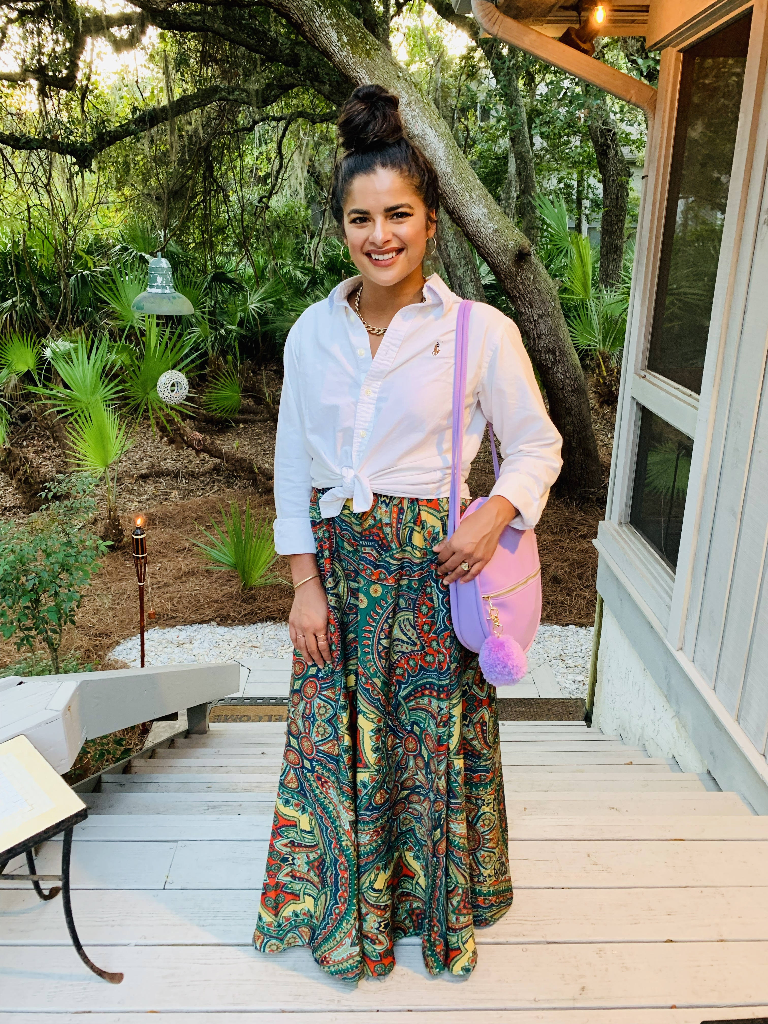 Priya the Blog, Nashville fashion blog, Nashville fashion blogger, Nashville style blog, Nashville style blogger, floor length skirt, how to style a floor length patterned skirt, white button-up, rehearsal dinner outfit, what to wear to a rehearsal dinner, beach dressy outfit, long skirt