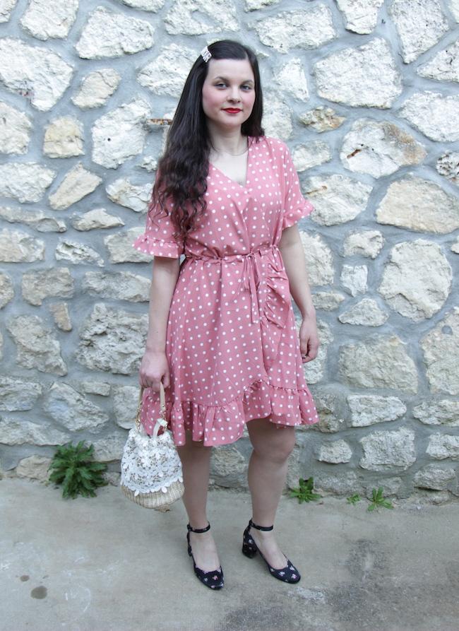 comment-porter-look-robe-rose-pois-babies-fleurs-sac-panier-blog-mode-la-rochelle-2