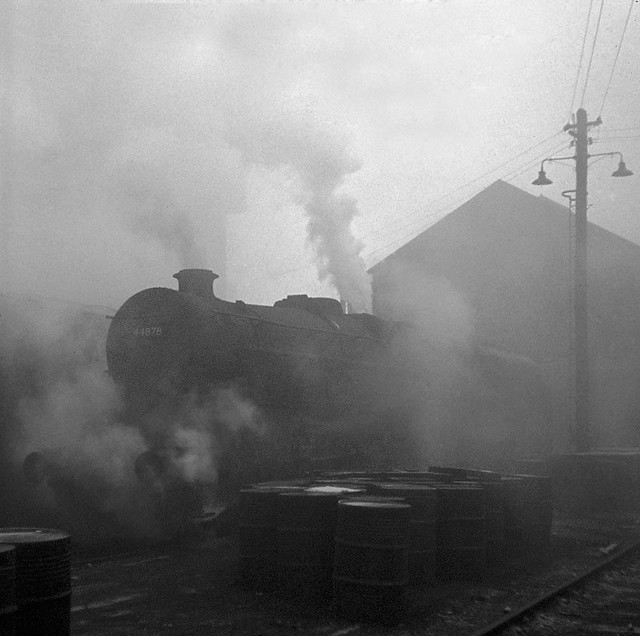 Stanier Black Five no. 44878 stands in the yard at Carlisle Kingmoor MPD on the foggy morning of 3rd December 1967, just four weeks before the end of steam over Shap.