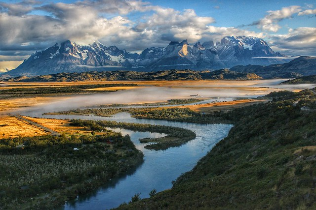 Serrano River and Torres del Paine National Park massif, Patagonia, Chile