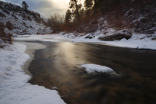 winter snow nopeople outdoors creek river landscapes sunset clouds mountains trees water