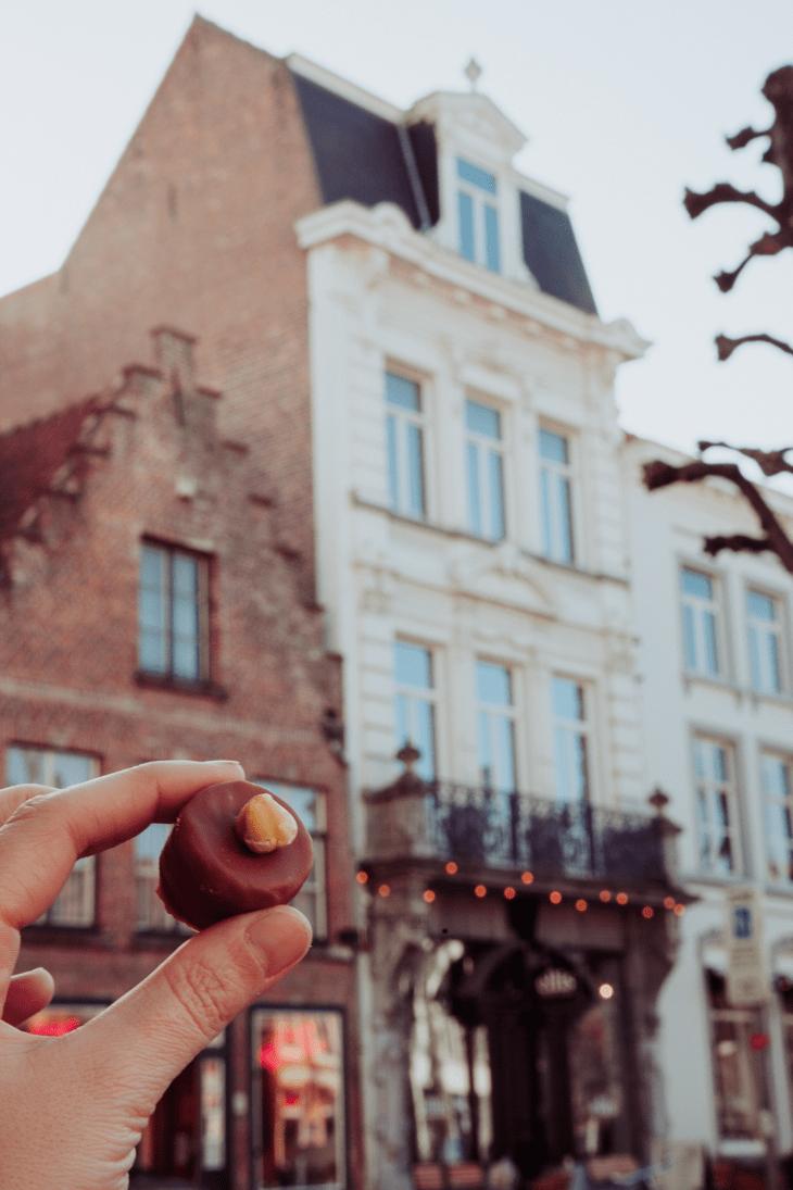 having chocolate in Belgium