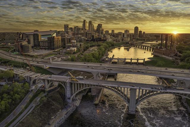 minneapolis minnesota mn downtown city skyline sunset