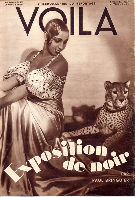 Josephine Baker and her pet cheetah, Chiquita.  Cover of the former French weekly magazine