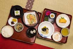 Japanese Monk Cuisine. Traditional Japanese Morning Breakfast Menu Made in Koyasan Monastery at Mount Koya in Japan