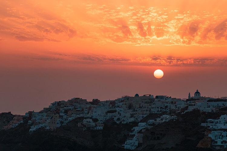 magical sunset views in Santorini