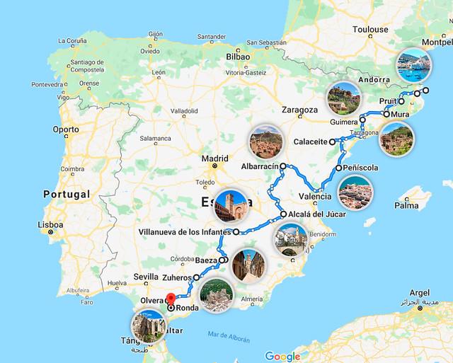 Mapa de los pueblos más bonitos de España