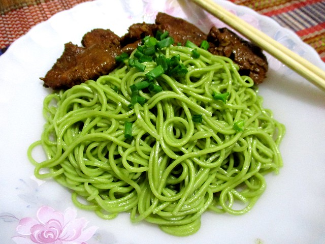 Spinach noodles, served