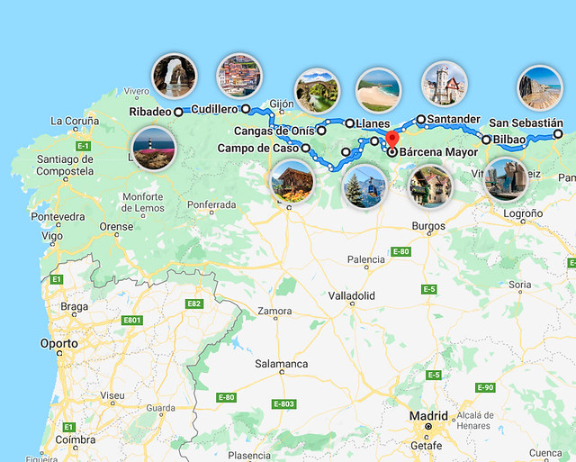 Mapa de ruta por el norte de España en 15 días