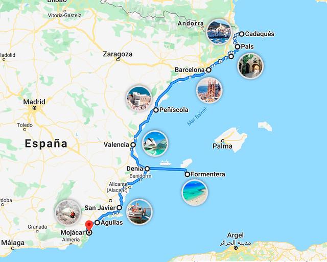 Mapa de ruta en coche por el Mediterráneo