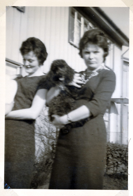 IMG_0012 Sandra Spafford and Janet Lister with Perry the Poodle Dog 116 Queensway Ashby Scunthorpe Lincs 1961.