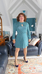 green spotty dress