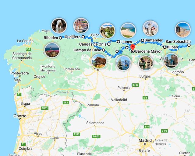Mapa de mi ruta de 15 días por el norte de España