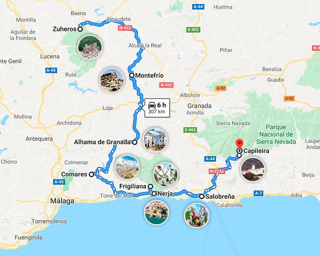 Mapa de pueblos más bonitos de Andalucía