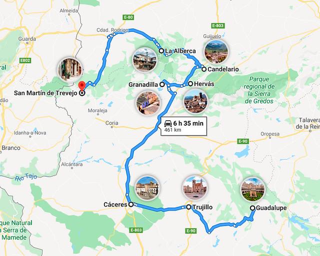Mapa de pueblos de Extremadura