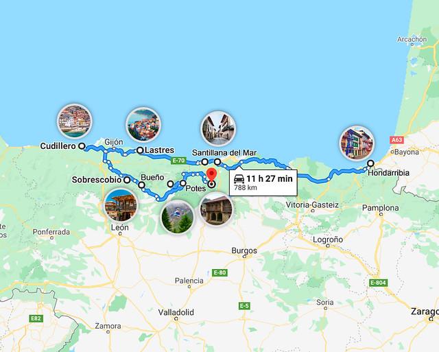 Mapa de pueblos más hermosos del norte de España
