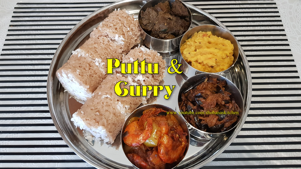 Srilankan Puttu / Mutton Liver Pepper Fry / Spicy Devilled Prawns / Fried Eggplant Curry /Dhal Curry
