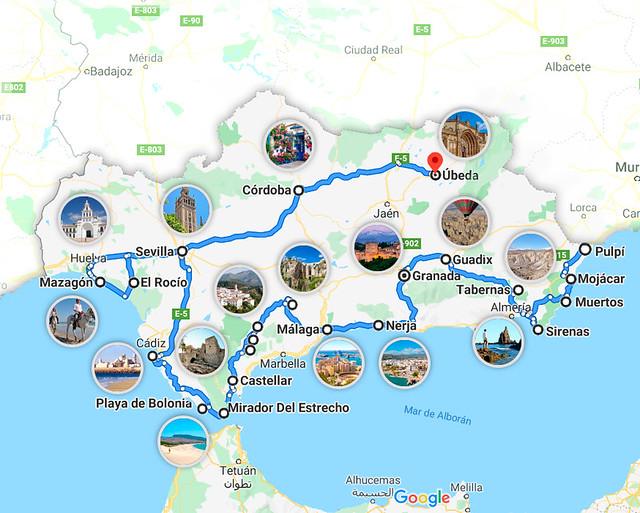Mapa de la Ruta por Andalucía