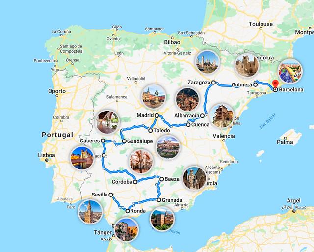 Mejor itinerario por España en dos semanas