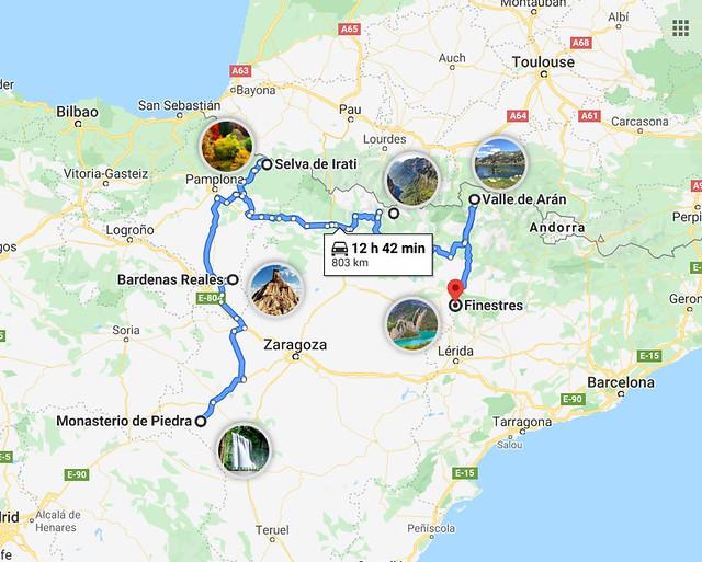 Mapa de la ruta por España para hacer senderismo