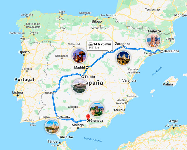 Mapa del itinerario de 7 días por España