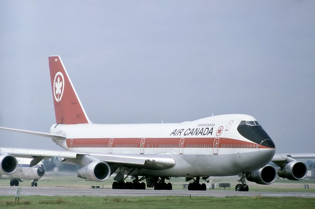 Air Canada Boeing 747 233B C-GAGA is seen here in original livery, taxiing for a 28L departure at London Heathrow.