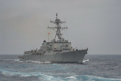 USS Rafael Peralta (DDG 115) transits the Philippine Sea. (U.S. Navy/MC3 Sean Lynch)