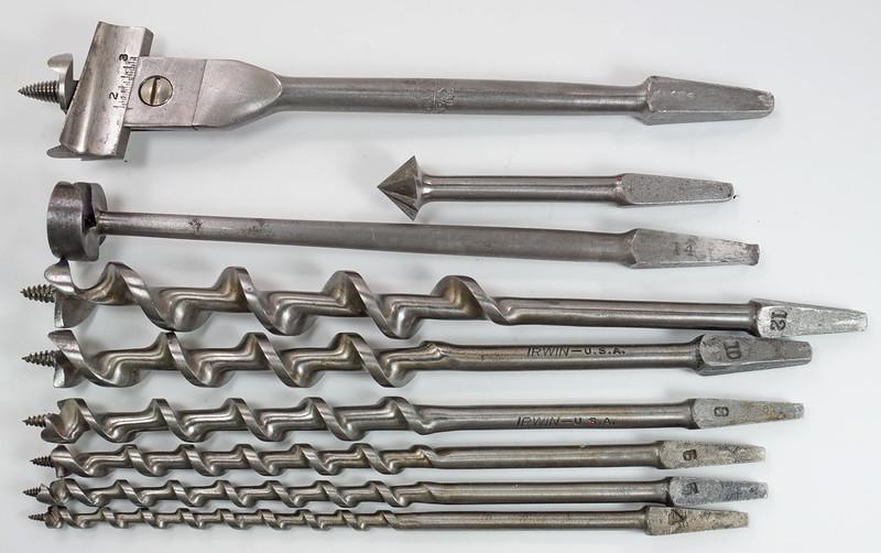 RD29559 9 Antique Auger Drill Bits - 6 Irwin Sizes 4,5,6,8,10 & 12 Plus BGI 14, Convalco Expansive, Craftsman DSC04226