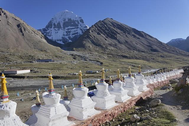 White stupas at Mt Kailash, Tibet 2019