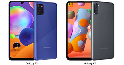 The Galaxy A31 is available in Prism Crush Black and Prism Crush Blue while the Galaxy A11 is available in Black and Blue.