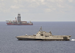 USS Gabrielle Giffords (LCS 10) conducts routine operations near the Panamanian flagged drillship, West Capella, May 12. (U.S. Navy/MC2 Brenton Poyser)