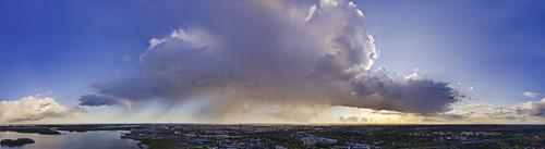 rain cloud cumulus helsinki thisisfinland suomi capital panorama finland sunset auringonlasku aerial djii mavic pro 20 djiimavicpro2 dreamy