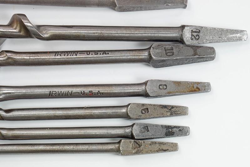 RD29559 9 Antique Auger Drill Bits - 6 Irwin Sizes 4,5,6,8,10 & 12 Plus BGI 14, Convalco Expansive, Craftsman DSC04227