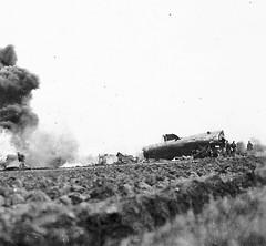 The B-24 burns fiercely