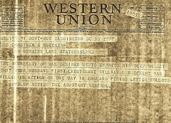 The Telegram that brought the terrible news to Dee