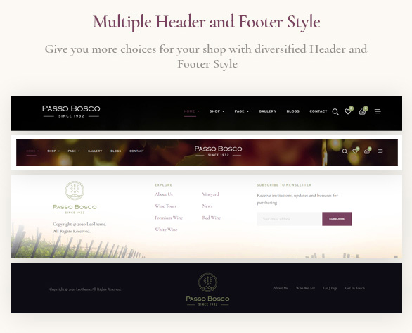 Passo Bosco - Prestashop Wine Store Template-multiple header and footer