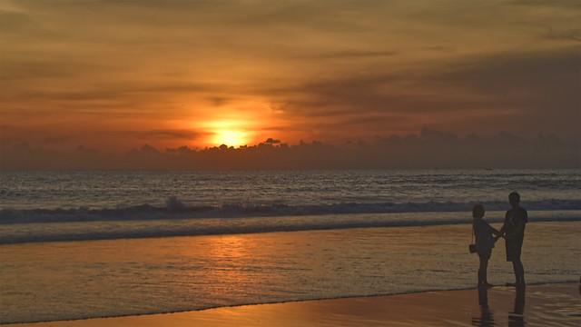 Sunset at Seminyak Beach, Bali, Indonesia.