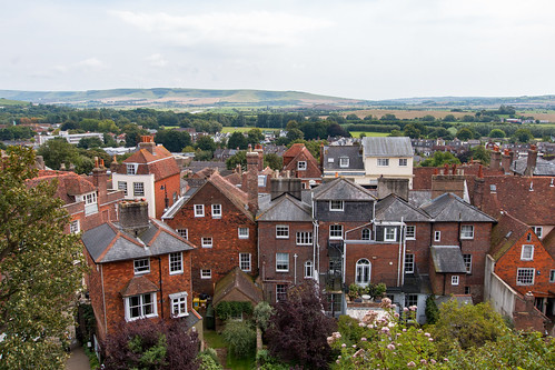 lewes town castle vista houses landscape southdowns nationalpark sussex elevated rooftops