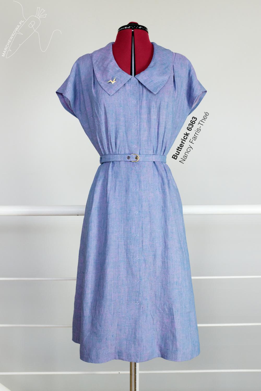 marchewkowa, tu się szyje, Wrocław, Butterick 6363, wykrój kopertowy, retro, lat '40., vintage, 1940s, sewing pattern, dress