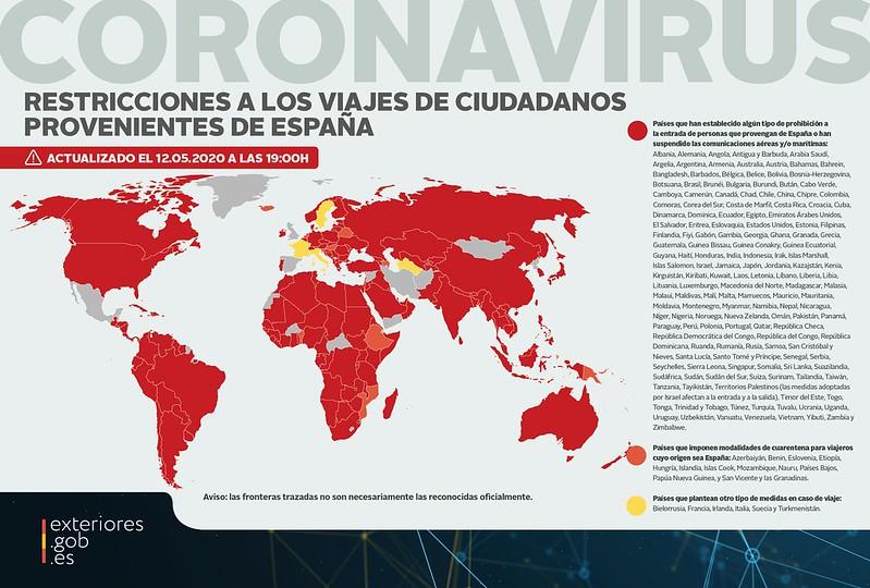 Mapa de restricciones a los viajes de ciudadanos provenientes de España 6 de mayo de 2020