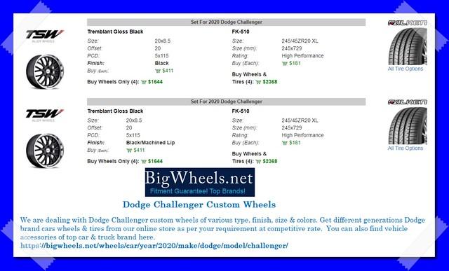 Dodge Challenger Custom Wheels Tires