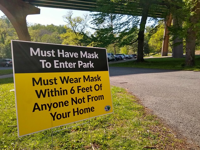 My wife and I were walking in the park this afternoon. We were wearing a masks but about 90% of the people we passed were not. Come on people!