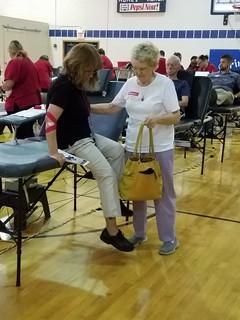 Volunteer at blood drive