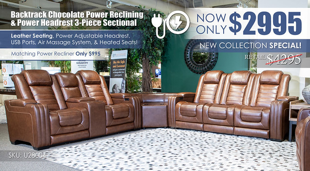 Backtrack Chocolate Power Reclining Sectional_U28004
