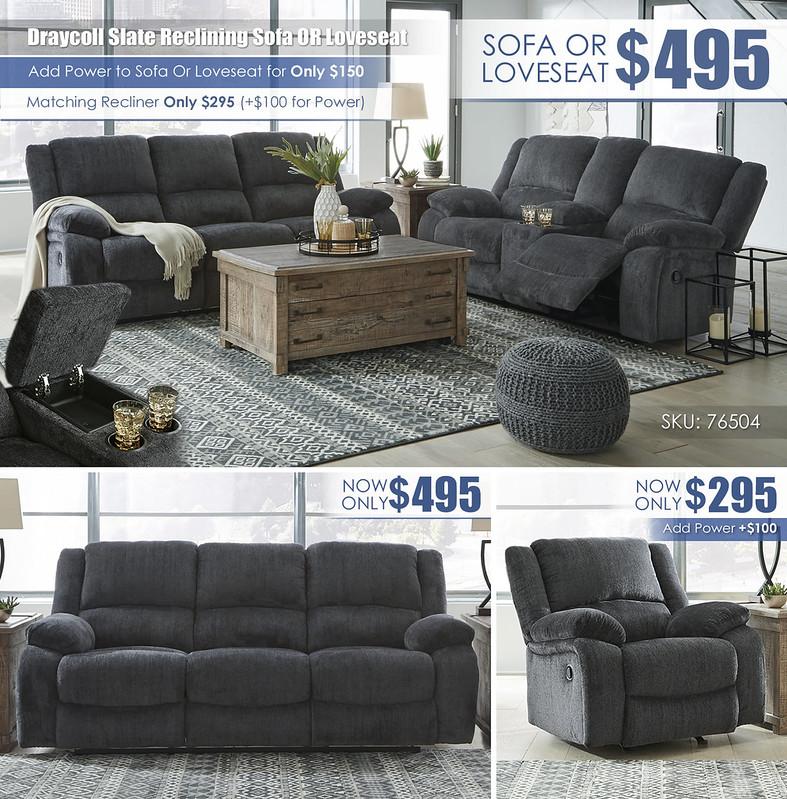 Draycoll Slate Reclining Sofa Or Loveseat_76504-88-94-T883